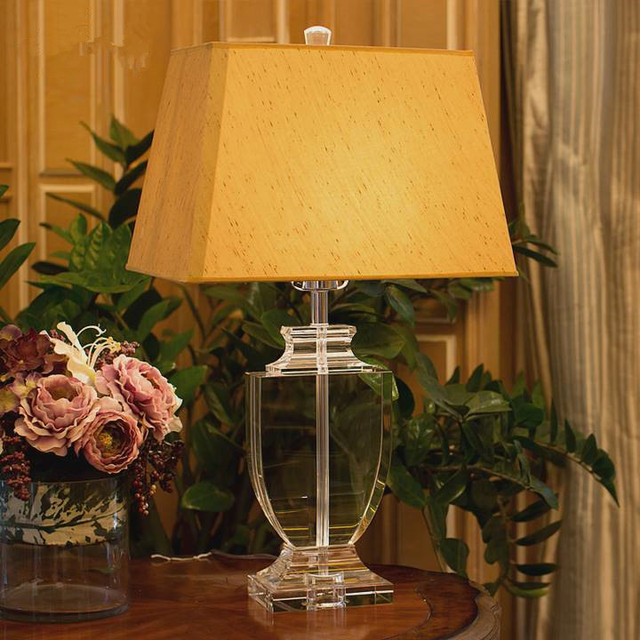 Luxury Modern Table Lamp Crystal Table Lamp Fabric Lampshade Living Room Abajur For Bedroom Socket All Country Can Use