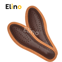 Elino Deodorization Leather Cowhide Insoles Activated Carbon Sweat Absorption Care Breathable Men Women