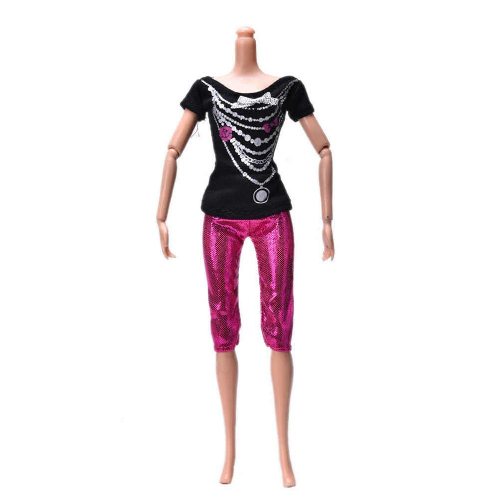 Toyzhijia 2ピース/セットファッション黒プリントシャツスーツカジュアルローズパンツ洋服人形バービー子供のおもちゃ