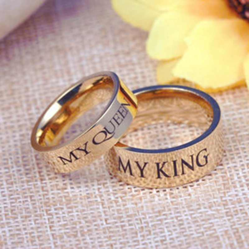 136a035a57 1pc New Fashion My King Queen Lovers Titanium Steel Ring Couple Letter  Print