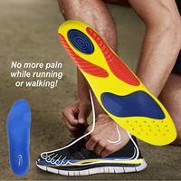 Gitibaba Silicone PU Insoles Sport Shock Absorption Pads Basketball Running Foot Pain Relieve Insoles For Men