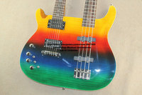 factory sells New alien double neck Left handed 6 string electric guitar + 4 string electrical bass colour body