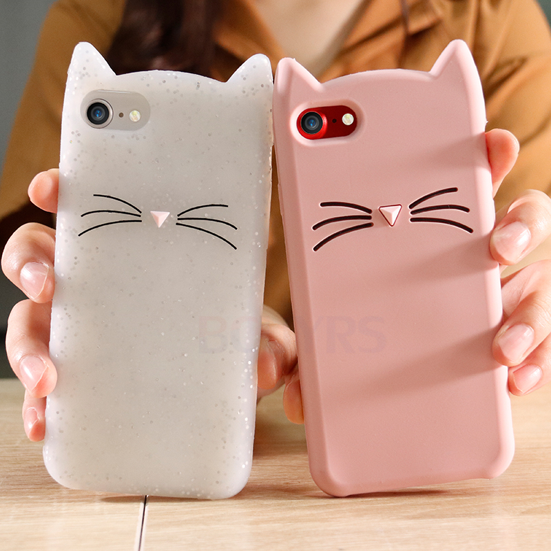 3D Cute Cover Iphone 7 8 Plus Cartoon Animal Beard Cat Ear Silicon Soft TPU Iphone 7 8 6 6S Plus 5 5S X