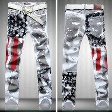 Мужчины бренд флаг звезды принт дизайнер свободного покроя микро-карты прорезиненная тесьма прямой джинсы брюки, Весна ночной клуб джинсы