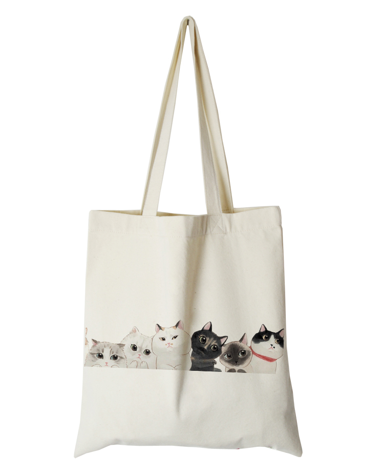 cute cat series canvas custom tote bag customized eco bags custom made shopping bags with logo  Dachshund Shepherd Dog Poodle (6)