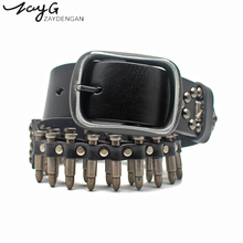 ZAYG Fashion Punk Bullet Rivet Luxury Designer Pin Buckle Belt High Quality Metal Leather Rock Motorcycle for Hip Hop Jeans