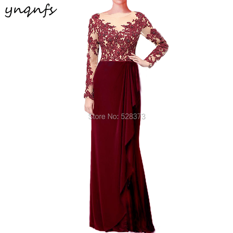 YNQNFS Long Party Dress Guest Wear Elegant Formal Dress Burgundy Mother Of The Bride Dresses Long Sleeves Outfits MD334