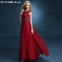 Fashion Satin WINE RED Lace Long Evening Dresses 2016 Robe Soiree Longue Femme Avondjurken Long Party