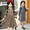 Winter Autumn Pretty Girls Dress Retro Floral Long Sleeve Flower Kids Dress Large Girl Clothes Princess