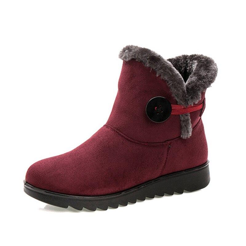 Warm Fur Women Snow Boots New Flat Platform Winter Shoes Flock Ankle Boots Female Fashion Non-slip Basic Snow Casual Shoes