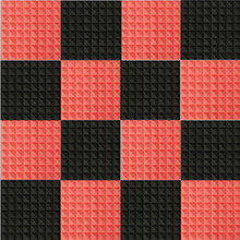 12PCS/Set Red+Black Acoustic Soundproof Sound Stop Absorption Pyramid Studio Foam Sponge Party  Wall Insulation Decoration