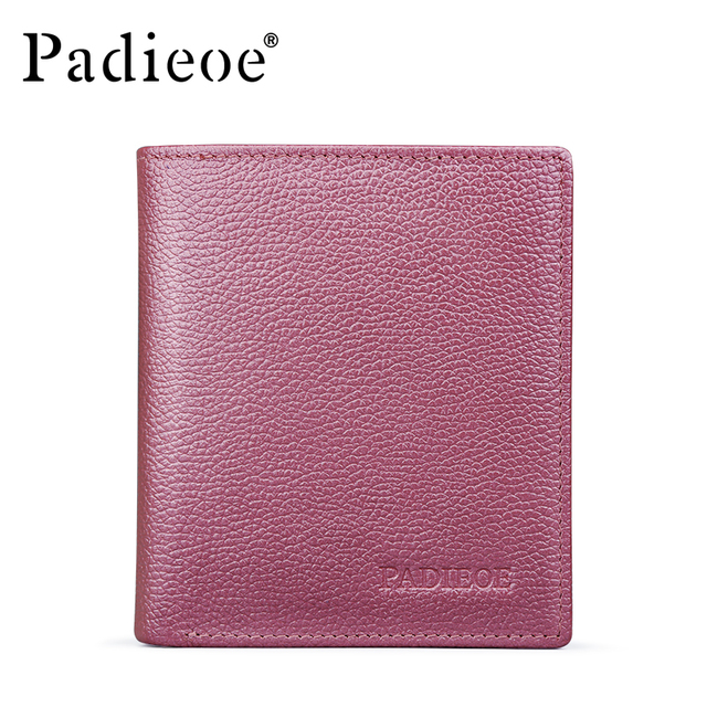 Padieoe Genuine Leather Women Wallet with Card Holder Pink Wallet for Female Women Clutch Money Wallet Women Purse Short Wallet