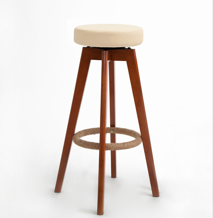 Wooden Swivel Bar Stools Modern Brown Finish Round Leather