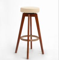 Wooden Swivel Bar Stools Modern Brown Finish Round Leather Foam Seat Backless Indoor Coffee Cafe Bar Furniture Chair 25 Inch