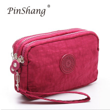 цены на Women Wallet Fashion 3 Layers Handbag Zipper Long Purse Large Capacity Phone Coin Bag High Quality simple Ladies Clutch zk30  в интернет-магазинах