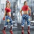 Wonder Woman Спорт Леггинсы Фитнес Леггинсы Yoga Брюки Высокой Талией Стретч Gym Запуск Спортивные Брюки Леггинсы Тренажерный Зал Одежды