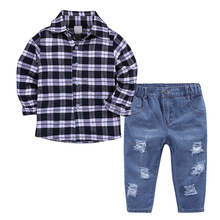 Cotton Boys Clothes Set Spring Autumn Children Clothing Baby Boys Long Sleeve Plaid Shirt Denim Pants Suit 2Pcs