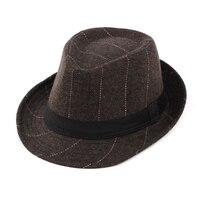 Spring Summer Classic Striped Felt Hats Caps Vintage Hat Trilby Cowboy Cap Jazz Fedora Hats For