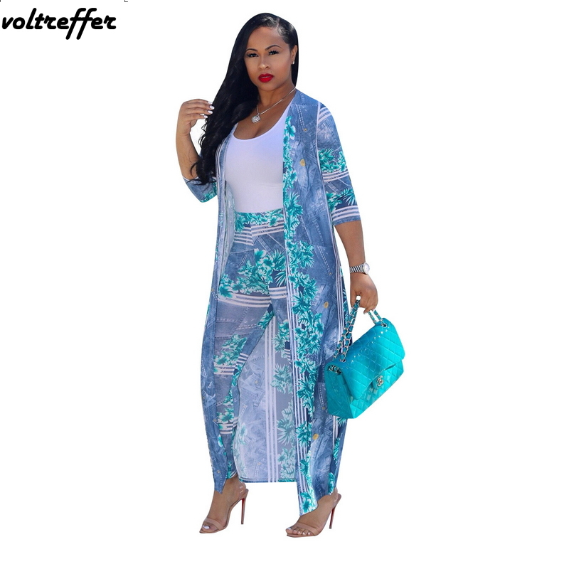 Imprimé Floral deux pièces ensemble Style africain Dashiki Long manteau Cardigan 2 pièces pantalons Costumes rétro bohème grande taille Costumes XXXL