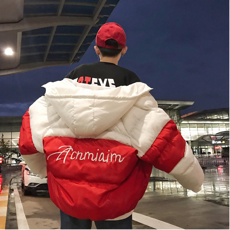 Student Cotton-padded Bf Wind Winter Clothes Jacket Men Thick Warm Coat   Parka   Windproof Outwear Youth Korean Hooded Lovers