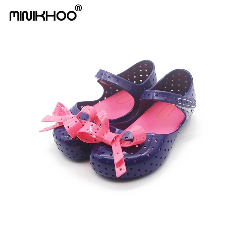 Mini Melissa 4Color Bow Tie Cute Girls Jelly Sandals 2018 New Melissa Children Shoes Baby Sandals Comfortable Princess Shoes