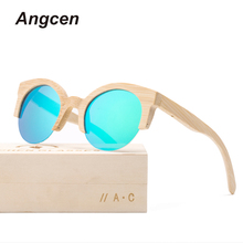 Angcen 2018 News Bamboo Sunglasses Men Half Frame Round Wooden Sunglasses polarized Women Mirror Vintage Handmade Eyewear UV400