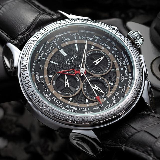 Men Watches 2019 YAZOLE Top Brand Luxury Fashion Sports Watches Men Vintage engraving Watches Quartz Hodinky Relogio Masculino 1