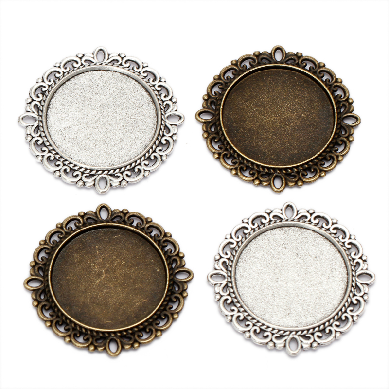 10pcs Cabochon 25mm Antique Bronze Double Lace base Pendant Setting Glass Cabochon Base Tray DIY Jewelry Findings Components B