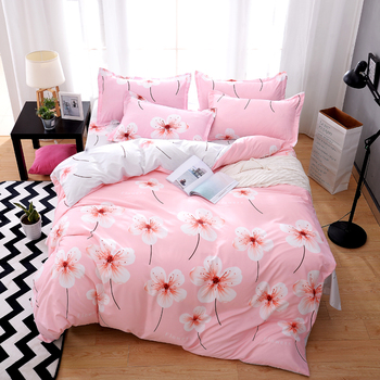 4Pcs New printing AB pattern luxury Bedding Sets/Bedclothes King Queen size Duvet Cover Bed Sheet Linens set Pillowcases