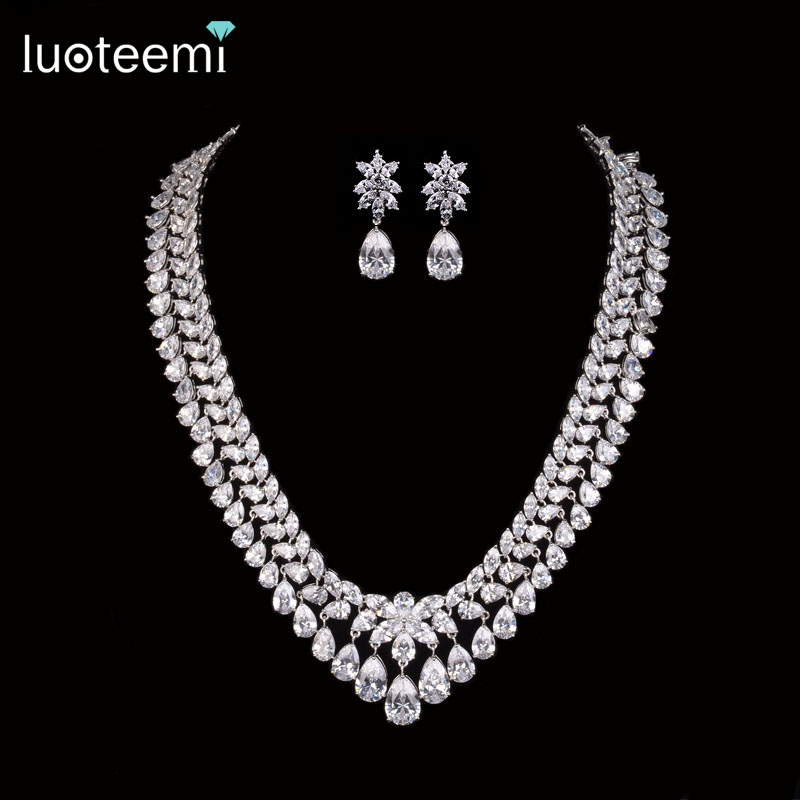 LUOTEEMI New Luxury Noble Clear Bright CZ Waterdrop Pendant White Gold-Color Charm Choker Necklace for Women Bridal Wedding