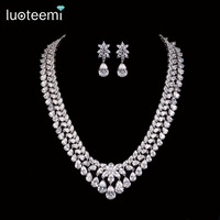 Teemi 2015 New Luxury Noble Clear Bright CZ Waterdrop Pendant White Gold Plated Charm Choker Necklace