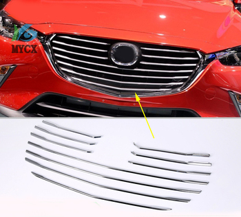 10PCS For Mazda CX-3 CX3 2016 2017 2018 Car Styling Front Grille Grill Molding Cover Trim Bezel Accessories Bright Silver