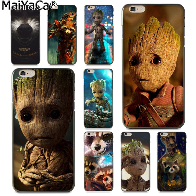 MaiYaCa Guardian Rocket Raccoon Groot Treeman Luxury TPU Rubber Phone Case cover for Apple iPhone 8 7 6 6S Plus X 5 5S SE 5C