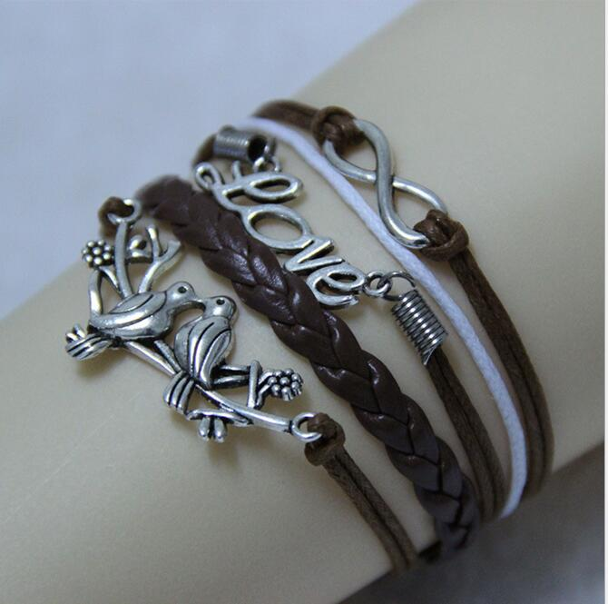 hot sales Charming fashion jewelry leather braided rope vintage silver plated bird infinity bangle