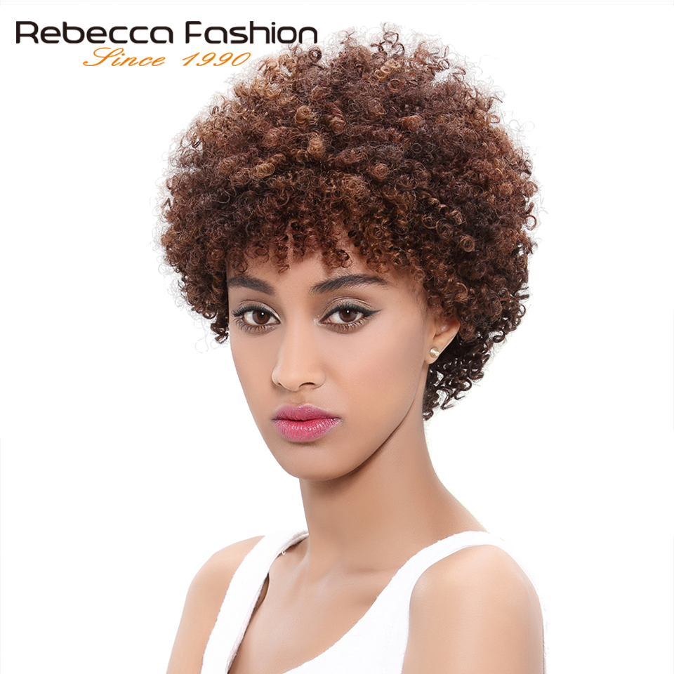 Wigs Short Human-Hair Machine-Made Curly Rebecca Kinky Women Brazilian Afro for Black