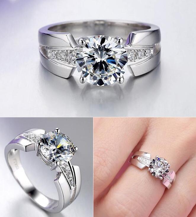 Argent pur 1.5 Carat argent haut carbone bras large mariage S925 bagues de mode bijoux pour femmes (JSA) - 5