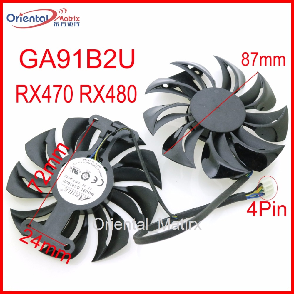 Free Shipping GA91B2U 12V 0.40A 87mm 4Wire 4Pin For Dataland RX470 RX480 Graphics Card Cooling Fan qqv6 aluminum alloy 11 blade cooling fan for graphics card silver 12cm