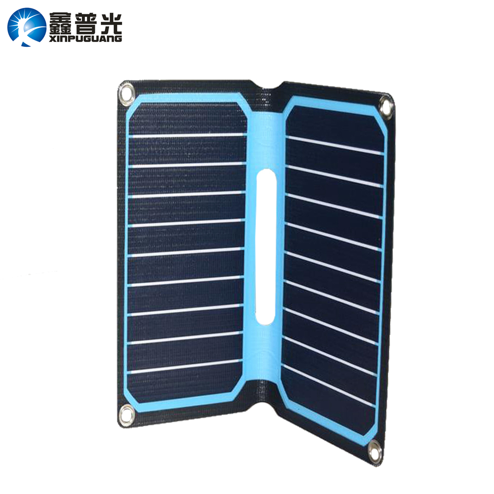 Xinpuguang 10W 5V ETFE Folding Solar Panel Flexible Portable Solar Panel Charger USB DC Output for Phone Tablet Camping Travel image