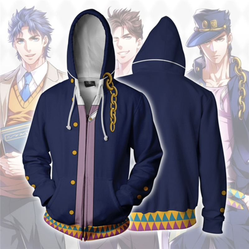 2019 Autumn Anime JoJo's JOJO Bizarre Adventure Sweatshirt Men Adult Casual Hooded Zipper Hoodies Cosplay Costume Coat