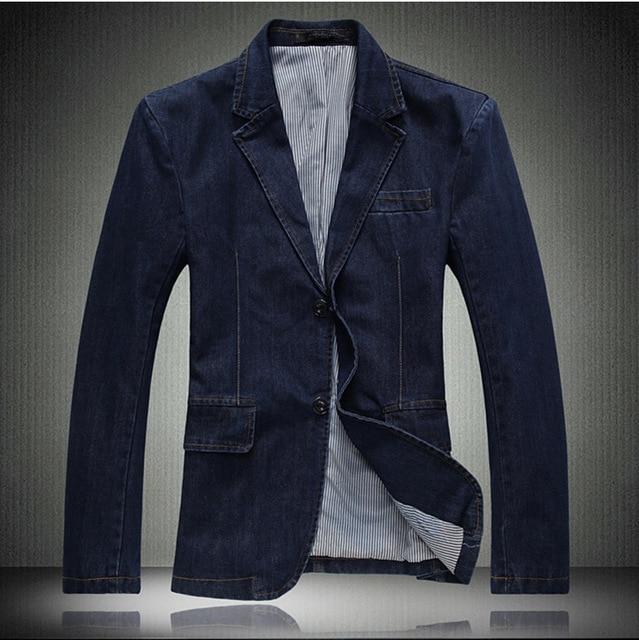 Office Wear Mens Slim Fit Denim Blazer Casual Suit Jackets Autumn Winter Single Breasted Men Work Coats Blaser Masculino 3XL 4XL