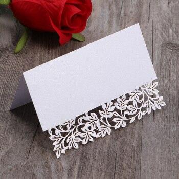 50 sztuk Hollow Floral Cut nazwa miejsce karty dekoracja stołu małe karty namiotowe na wesele-biały