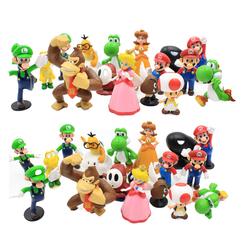 (18 pieces/set) Super Mario Bros 18pcs 1-2.5 yoshi dinosaur Figure toy Super mario yoshi figures PVC retail