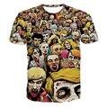 2016 3XL 3D аниме The Walking dead футболка мужская забавный с коротким рукавом футболки Зомби Роятся отпечатано шеи экипажа топы лето, ZA179