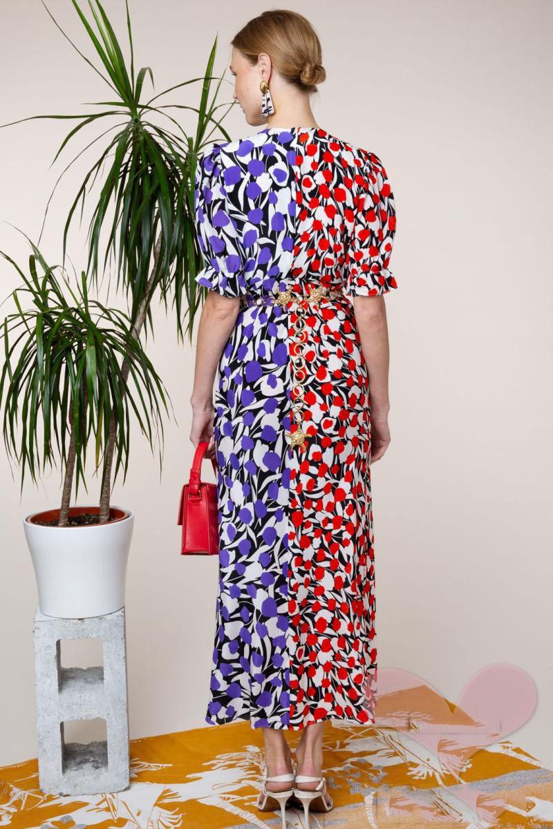 الخزامى أحادية الأزهار الأحمر الأرجواني طباعة الحرير كريب ارييل اللباس الخامس الرقبة الجبهة الشق مطوي تكدرت التفاصيل قصيرة الأكمام غير المتماثلة فستان-في فساتين من ملابس نسائية على  مجموعة 1