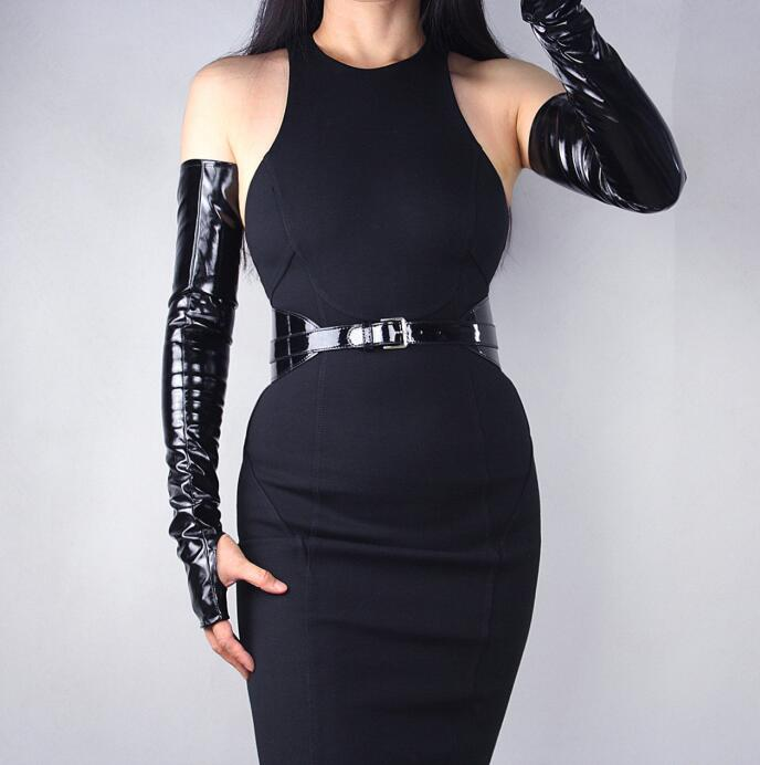 Women's Sexy Slim Faux Pu Leather Fingerless Glove Lady's Club Performance Formal Party Patent Leather Long Glove 60cm R636