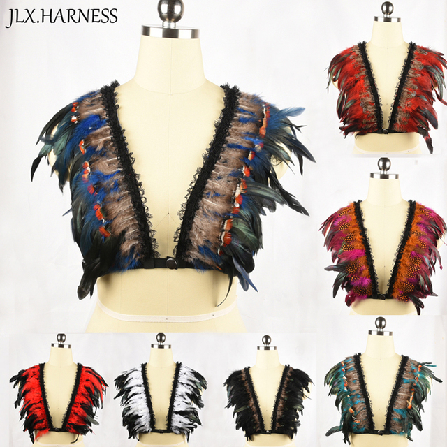 90's Fetish Feather Harness Colorful Plumage Feather Bodysuit Erotic Open Chest Cage Bra Goth Crop Top Bondage Lingerie O0299