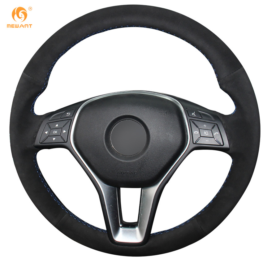 Mewant black suede steering wheel cover for mercedes benz for Mercedes benz steering wheel cover