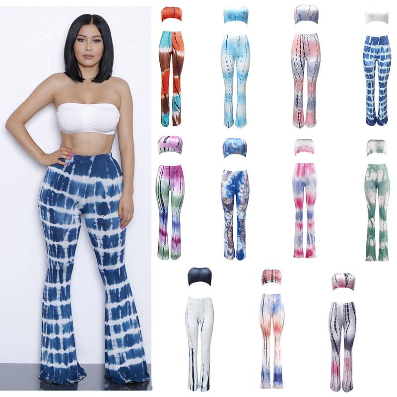Ladies Trousers FitnessWomen's Long Pants Casual Pattern Print Wide leg Bell Bottom Legging Soft Flare Pants+Sleeveless Tops