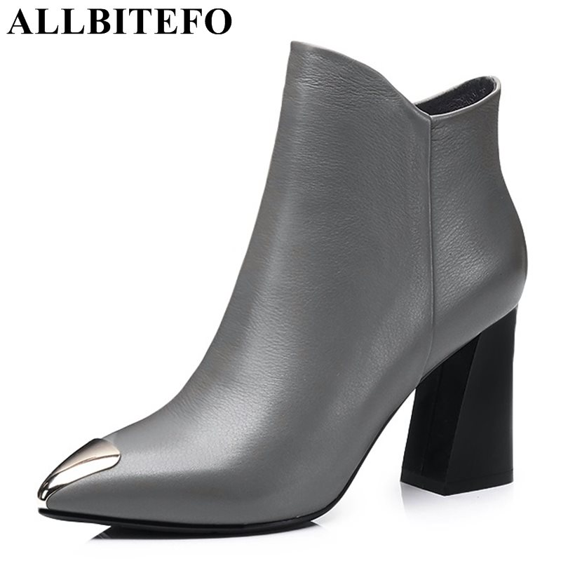 ALLBITEFO metal toe genuine leather pointed toe thick heel women boots fashion high heels ankle boots girls boots size:33-43  allbitefo size 33 43 high quality genuine leather gradient color short women boots pointed toe chains thick heel martin boots