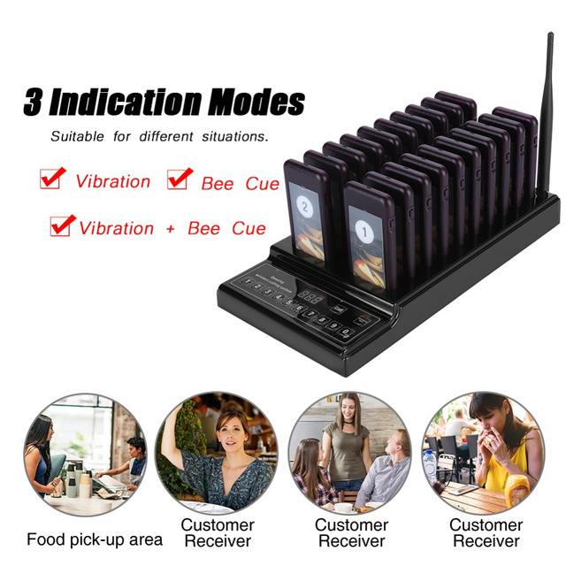 433.92MHz SU 68Z Guest Paging System 999 channel 20 Receivers Pager System for Restaurant Wireless Waiter Calling System